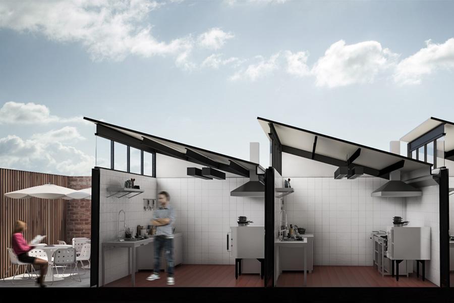 Vista lateral de tactic kitchen